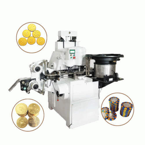 Automatic coin chocolate foil wrapping machine