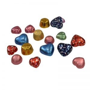 heart chocolate, half-ball chocolate foil wrapping